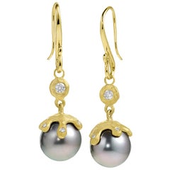 Pamela Froman Fine Tahitian Pearl White Diamond Gold Handmade Drip Cap Earrings