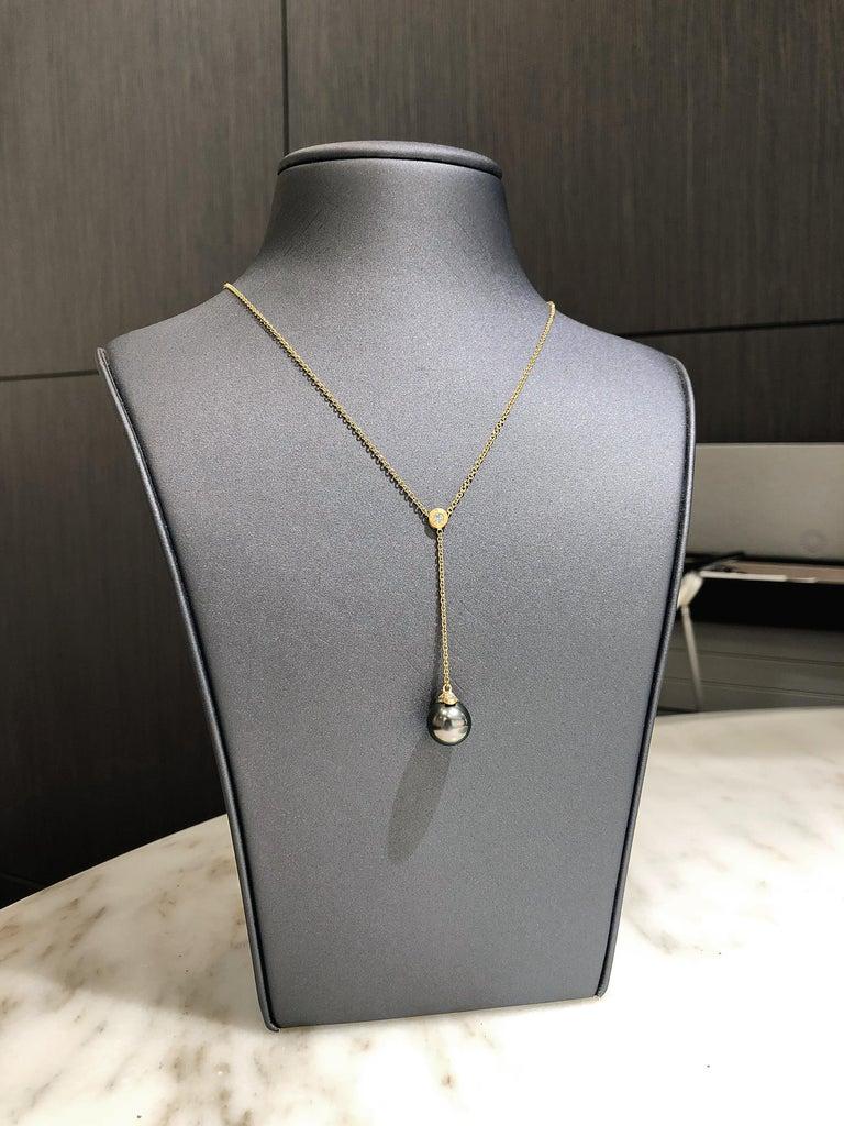 Artist Pamela Froman Fine Tahitian Pearl White Diamond Gold Lariat Drop Necklace For Sale