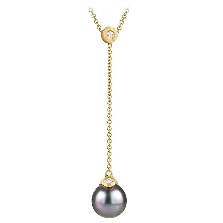 Pamela Froman Fine Tahitian Pearl White Diamond Gold Lariat Drop Necklace For Sale