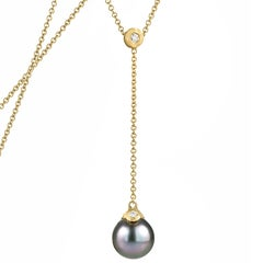 Pamela Froman Fine Tahitian Pearl White Diamond Gold Lariat Drop Necklace