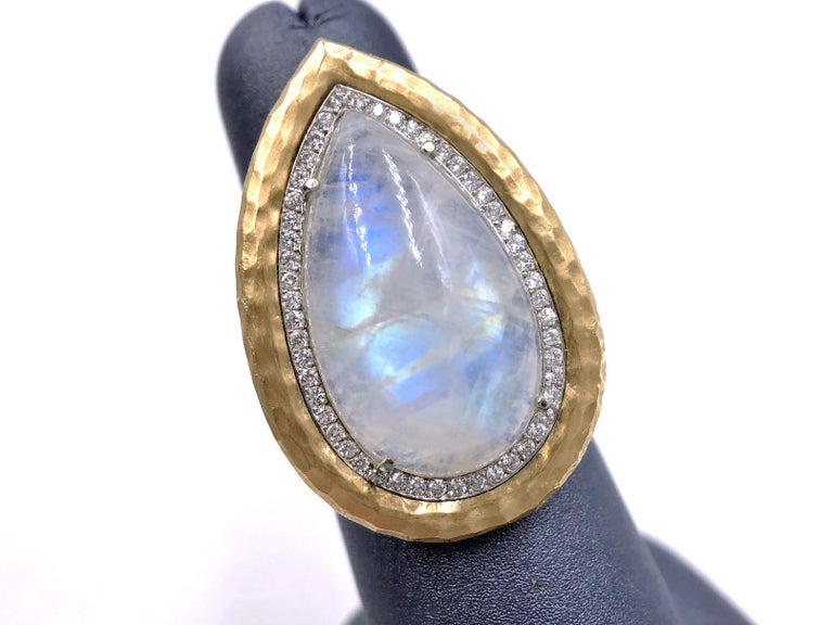 Artist Pamela Froman Rainbow Moonstone White Diamond One of a Kind Empress Ring For Sale