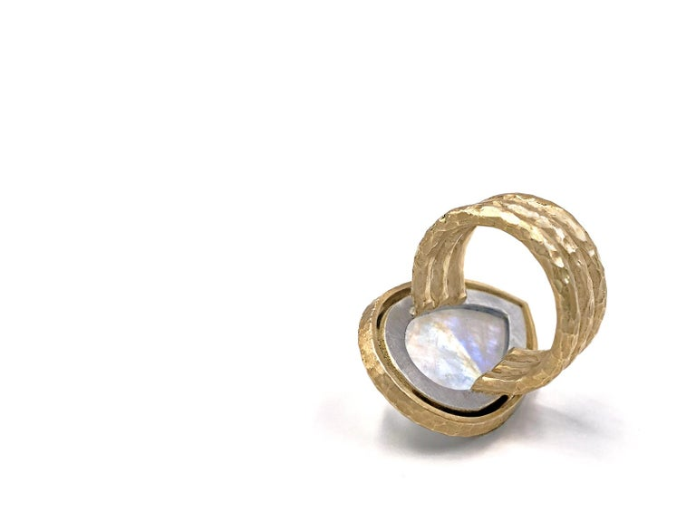 Pamela Froman Rainbow Moonstone White Diamond One of a Kind Empress Ring In New Condition For Sale In Dallas, TX