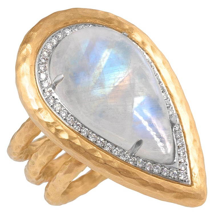 Pamela Froman Rainbow Moonstone White Diamond One of a Kind Empress Ring For Sale