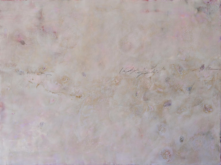 A horizontal pink, pearl, and violet abstract encaustic painting by Pamela Gibson. Signature of her work, Gibson draws from the colors and patterns of the natural landscape while creating her abstract works. In this piece, the gentle rippling light