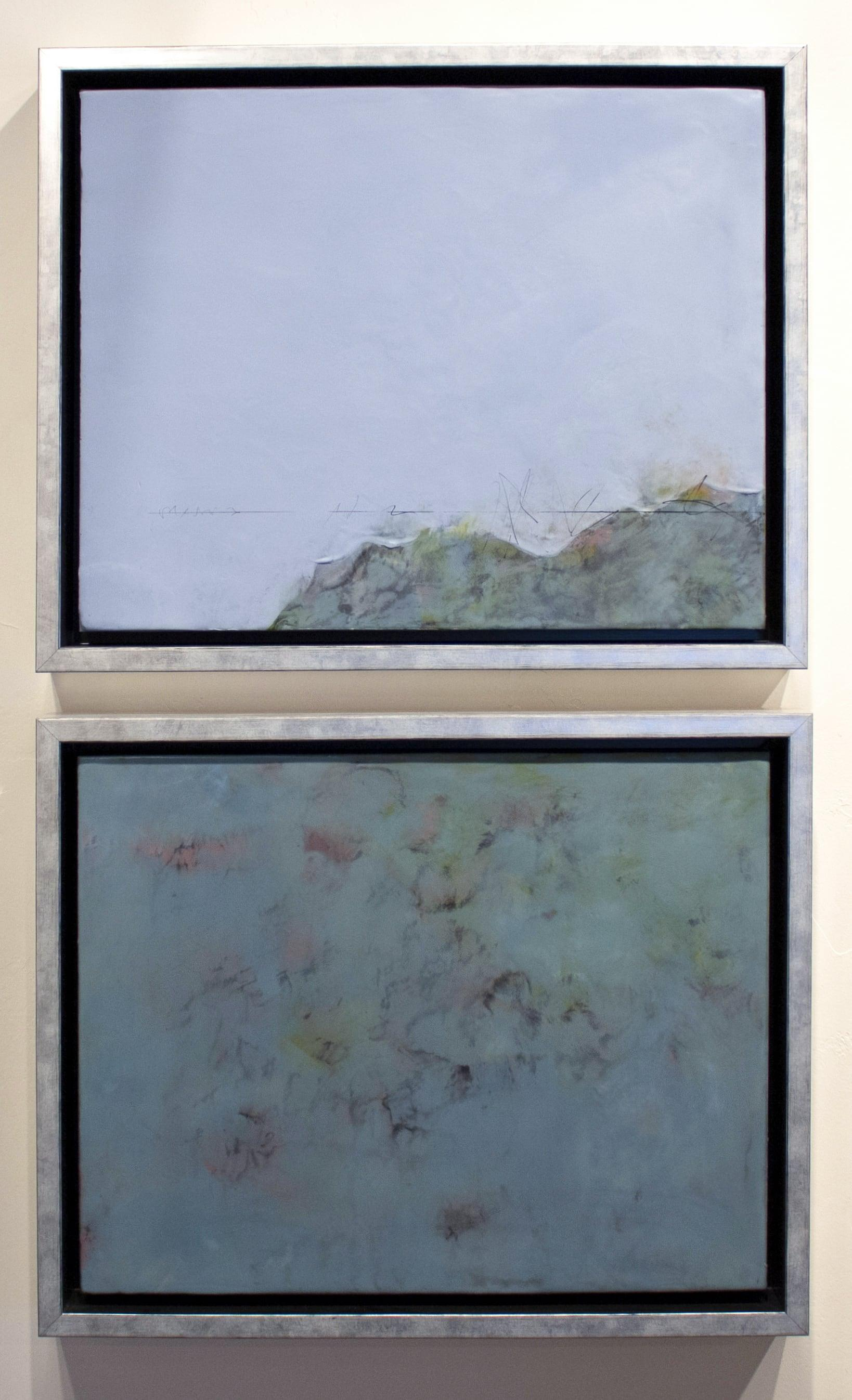 """""""Road Trip"""" by Pamela Gibson, Encaustic abstract painting diptych, 2019"""
