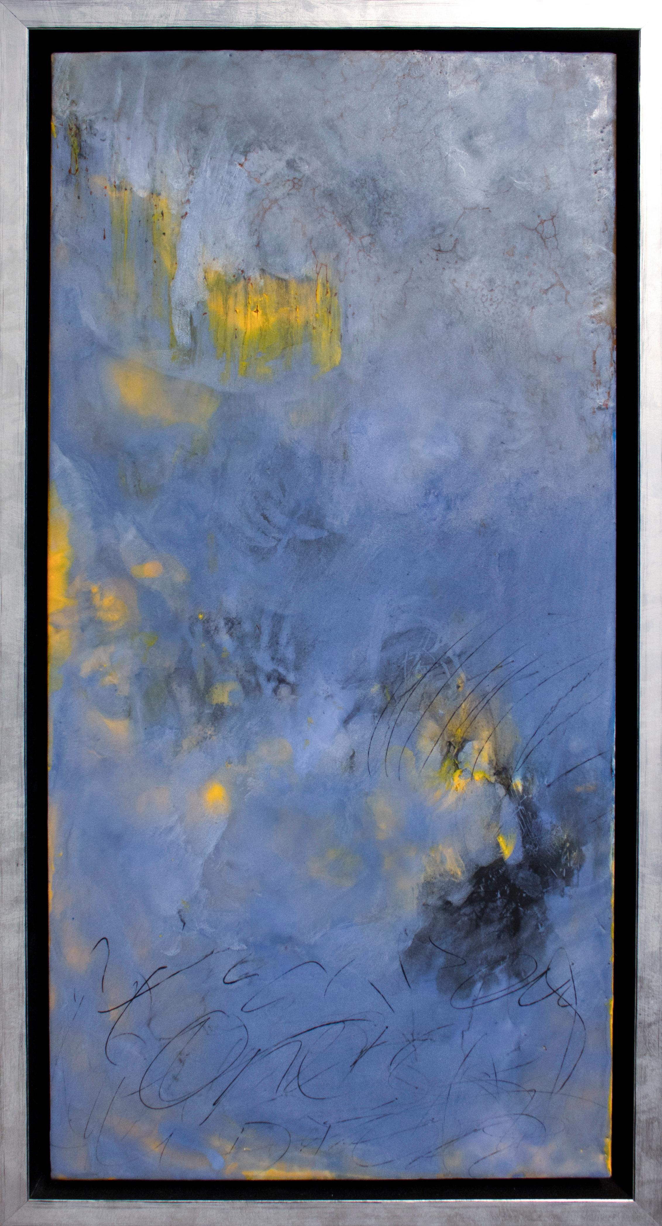 """""""Tell Tale"""" by Pamela Gibson, Encaustic abstract painting on board, 2019"""