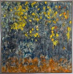 """""""Yellow Wood"""" by Pamela Gibson, Encaustic/Mixed-media on board, 2020"""