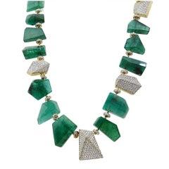 Pamela Huizenga 343.80 Carat Faceted Emerald Nugget Bead Necklace
