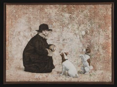 BEGGAR'S CLUB II - nostalgic painting with dogs
