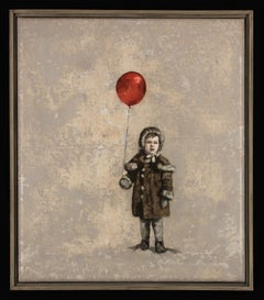 CARNIVAL - nostalgic painting of boy with red balloon