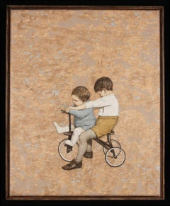 COPILOT -  nostalgic painting of children on tricycle