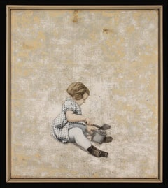 SOLITAIRE - nostalgic painting of girl with pail