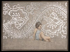 SOLSTICE - nostalgic painting of girl with silver floral pattern