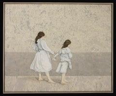 WINDSWEPT - nostalgic painting of two girls