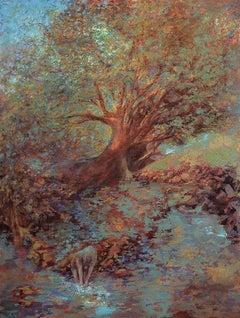 BAYOU BATHER, Painting, Acrylic on Canvas