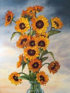 SUNFLOWERS AGAINST A PRAIRIE SKY, Painting, Oil on Canvas