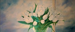 WHITE ROYAL TULIPS, Painting, Oil on Canvas