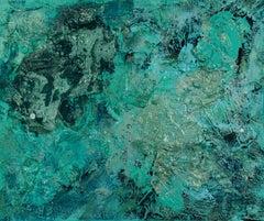 Green Supernova : FRAMED, Painting, Acrylic on Canvas