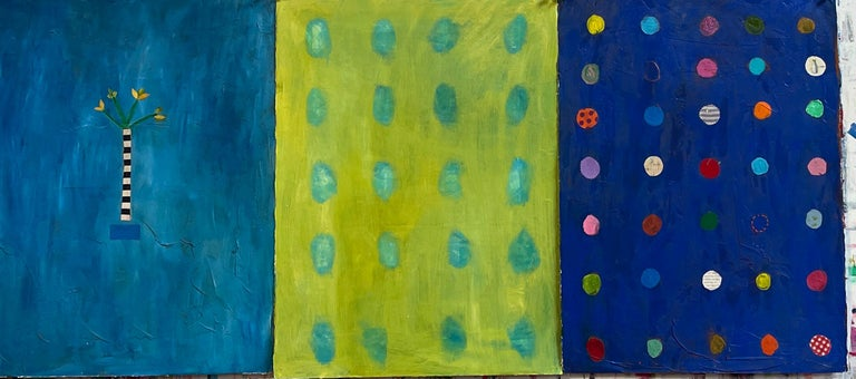This contemporary blue abstract painting on paper by New York Artist Pam Smilow consists of geometric, multi-colored abstract circles on a cobalt blue background.   It measures 22 inches by 30 inches on Rives BFK paper and can be combined with other