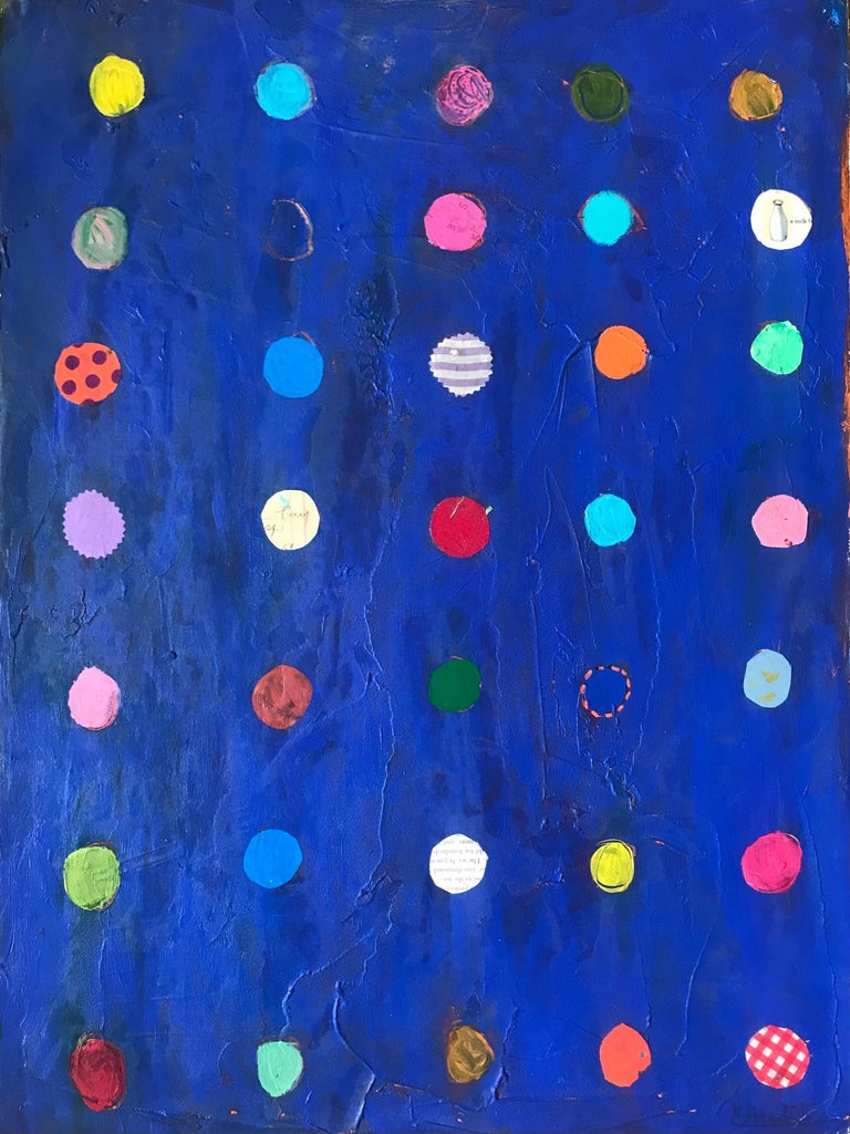 Pam Smilow Abstract Painting - Blue Dots Mixed Media Painting on Paper