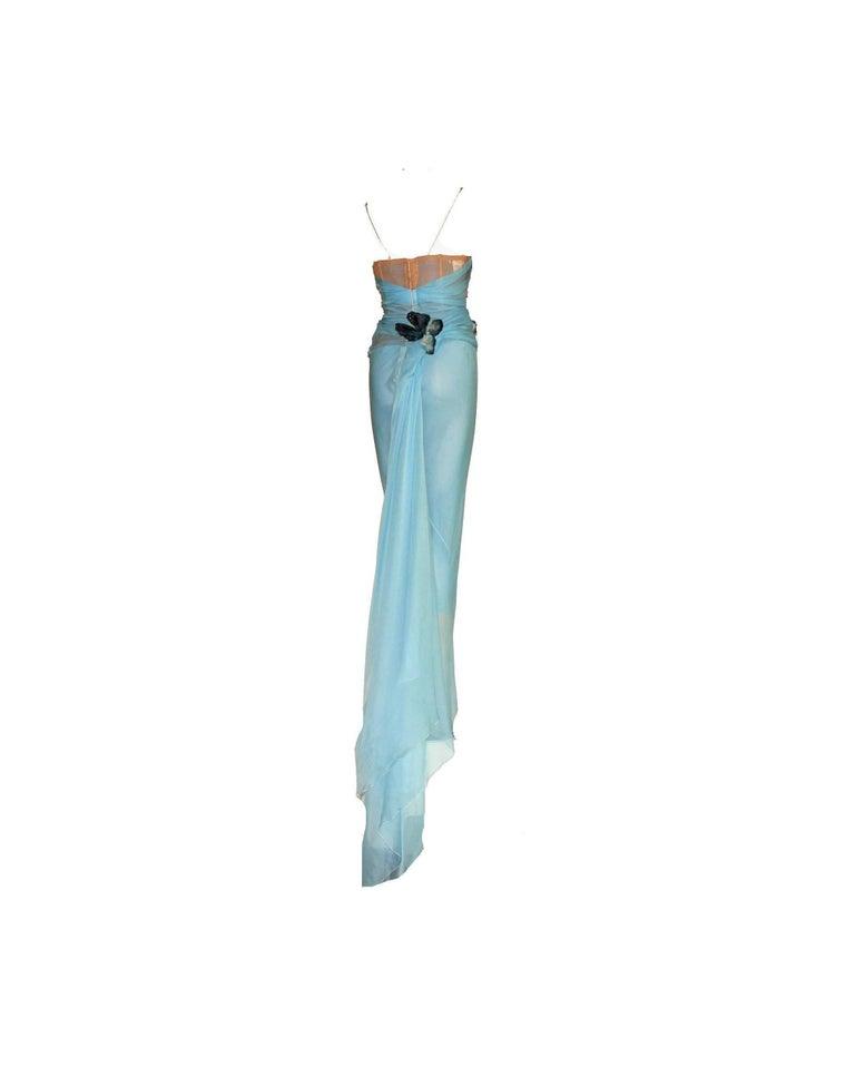 c7df1fe1d06e Blue Pamela's Dolce & Gabbana 1998 Corset Butterfly Evening Gown Dress ...
