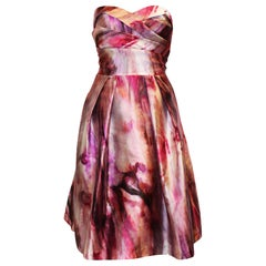 Pamella Roland Abstract Floral Design in Pink & Lavender Strapless Dress
