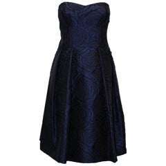 Pamella Roland Navy & Black Rose Brocade Strapless Cocktail Dress