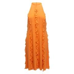 Pamella Roland Orange Sleeveless Ruffle-Trimmed Dress