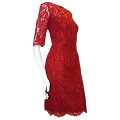 Pamella Roland Ruby Lace Scalloped Sleeves and Hem