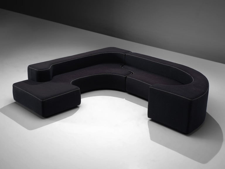 Roberto Pamio, Noti Massari and Renato Toso for Stilwood, modular sofa 'Lara,' black fabric, Italy, 1958.   This sectional sofa is designed by Roberto Pamio, Noti Massari and Renato Toso for Stilwood. This two piece corner sofa creates a