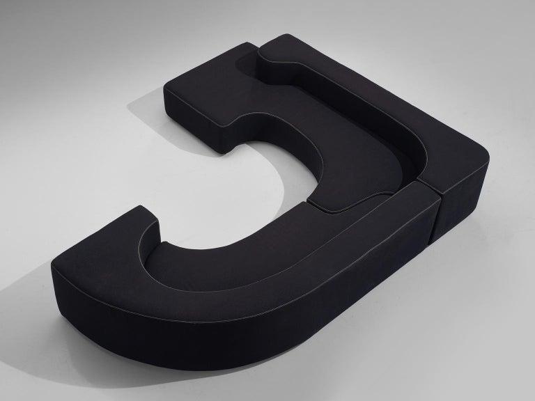 Mid-Century Modern Pamio, Massari and Toso Black Modular 'Lara' Sofa For Sale