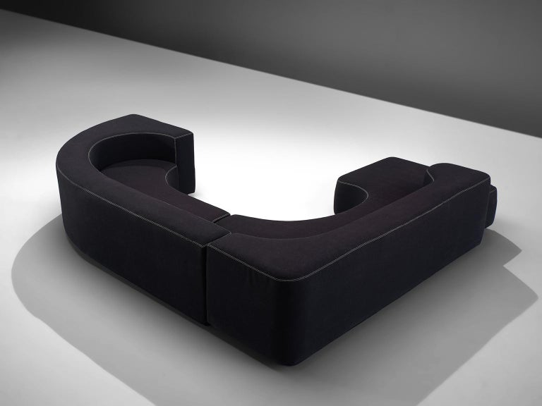 Italian Pamio, Massari and Toso Black Modular 'Lara' Sofa For Sale