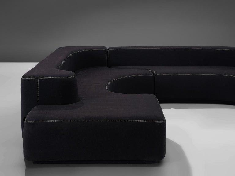 Pamio, Massari and Toso Black Modular 'Lara' Sofa In Good Condition For Sale In Waalwijk, NL