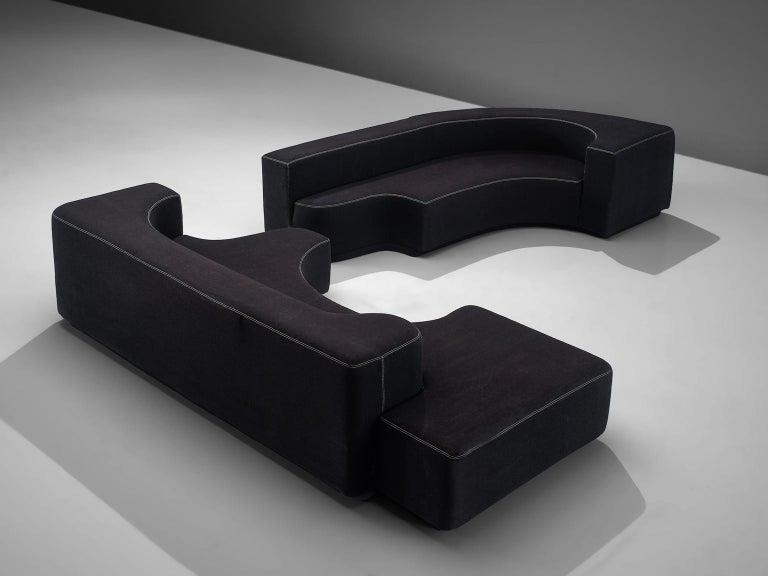 Mid-20th Century Pamio, Massari and Toso Black Modular 'Lara' Sofa For Sale