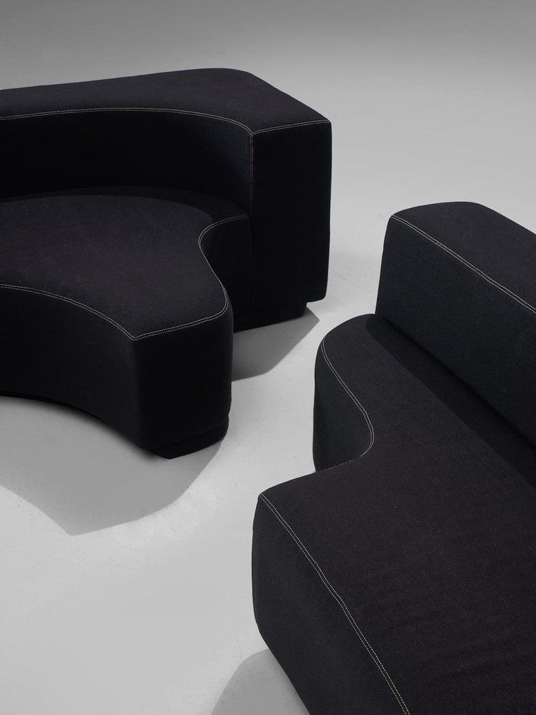 Fabric Pamio, Massari and Toso Black Modular 'Lara' Sofa For Sale
