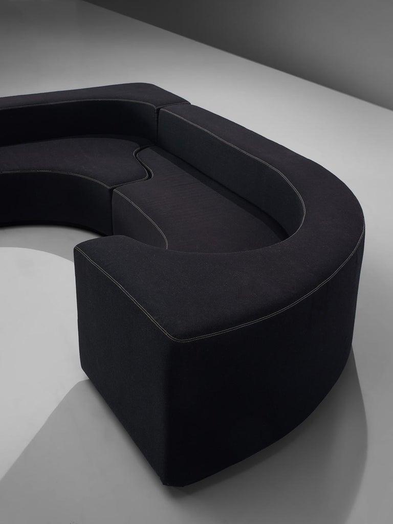 Pamio, Massari and Toso Black Modular 'Lara' Sofa For Sale 1