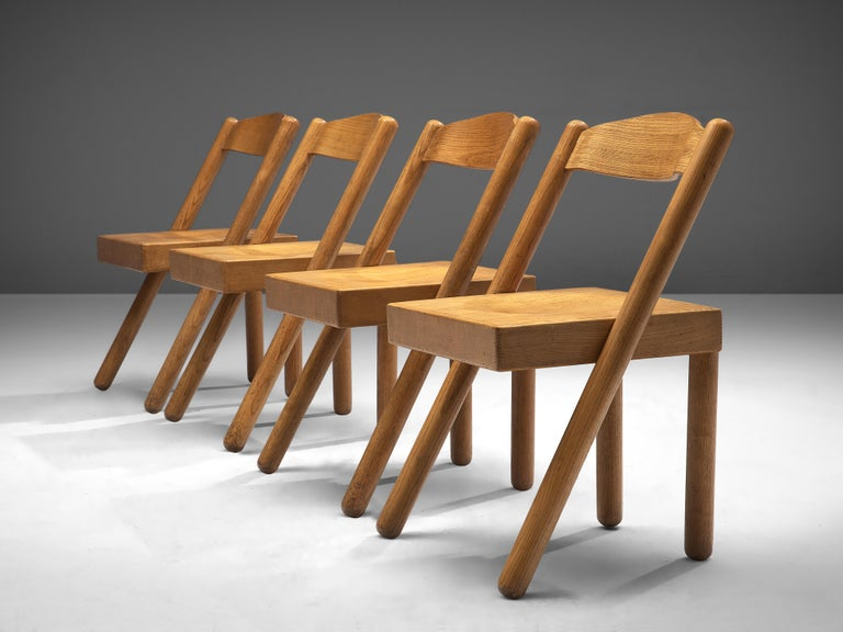 Italian Pamio & Toso Set of 4 Dining Chairs Model 'Iva' in Ash