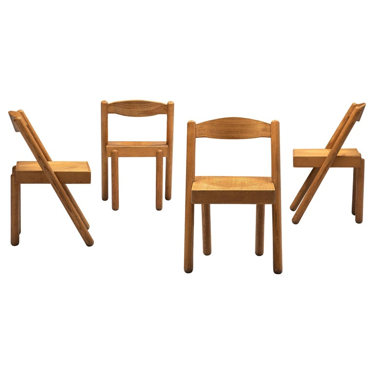 Pamio & Toso Set of 4 Dining Chairs Model 'Iva' in Ash
