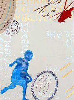 """Boy playing with ring, Painting, Acrylic, Sky Blue, Brown, Yellow """"In Stock"""""""