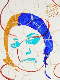 """Women Face, Acrylic Painting, Blue, Brown, Red by Indian Artist """"In Stock"""""""