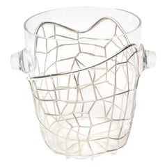 Pampaloni Sterling Silver and Glass Sculptural Ice Champagne Bucket Barware