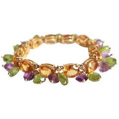 Pampilles Bracelet Yellow Gold 18 Carat Citrines Peridot Amethyst and Diamonds