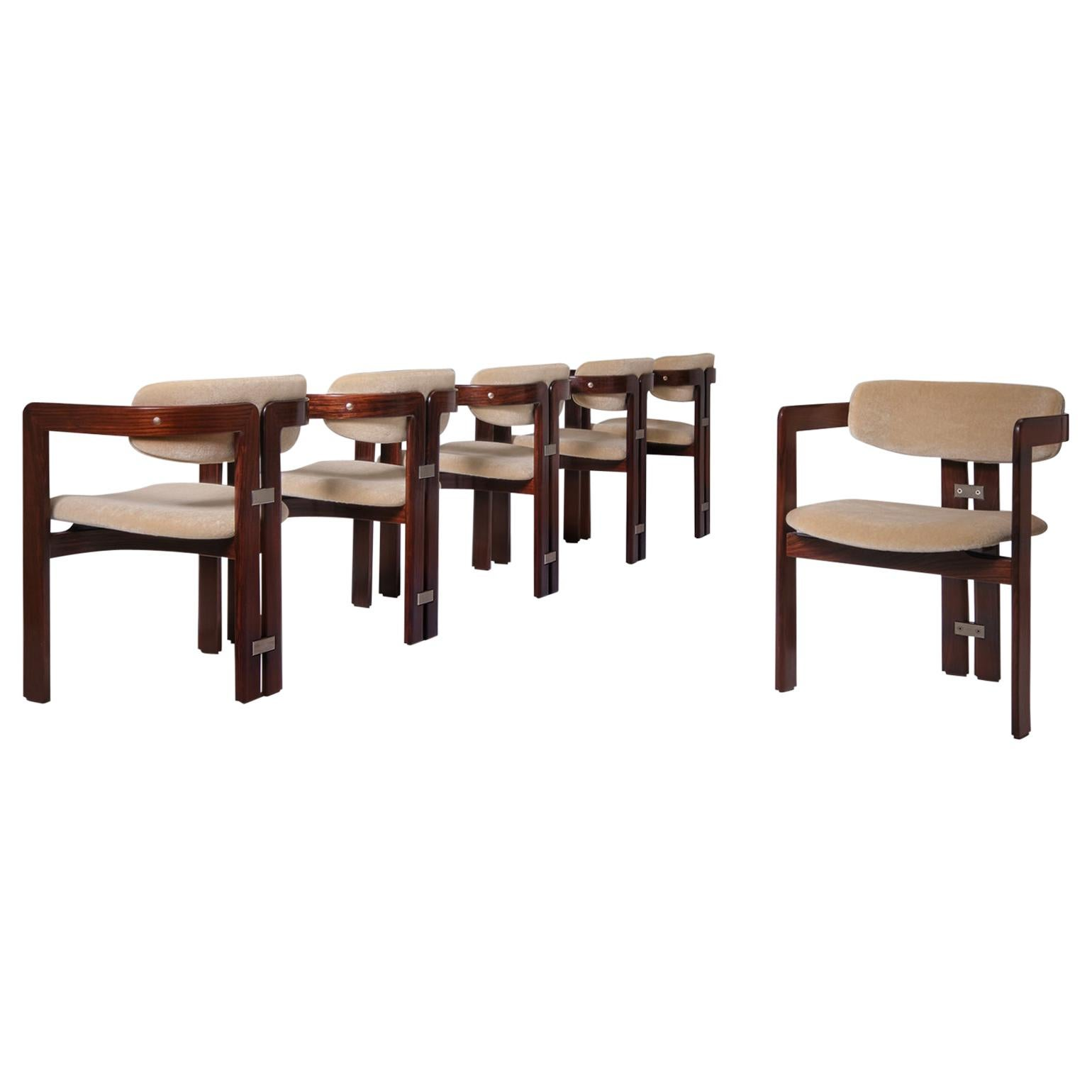 Pamplona Dining Chairs by Augusto Savini in Rosewood and Mohair