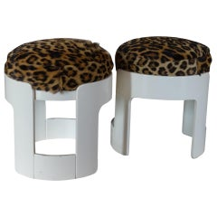 """Pamplona"" Stools by Augusto Savini, Wood, Real Leopard, Skin, Italy, 1960s"