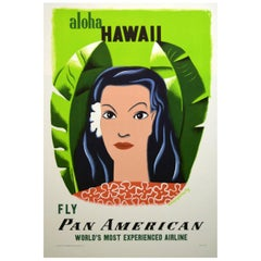 Pan Am 1950s Hawaii Travel Poster, Kauffer