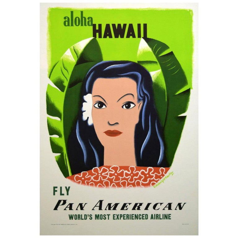 Pan Am 1950s Hawaii Travel Poster, Kauffer For Sale