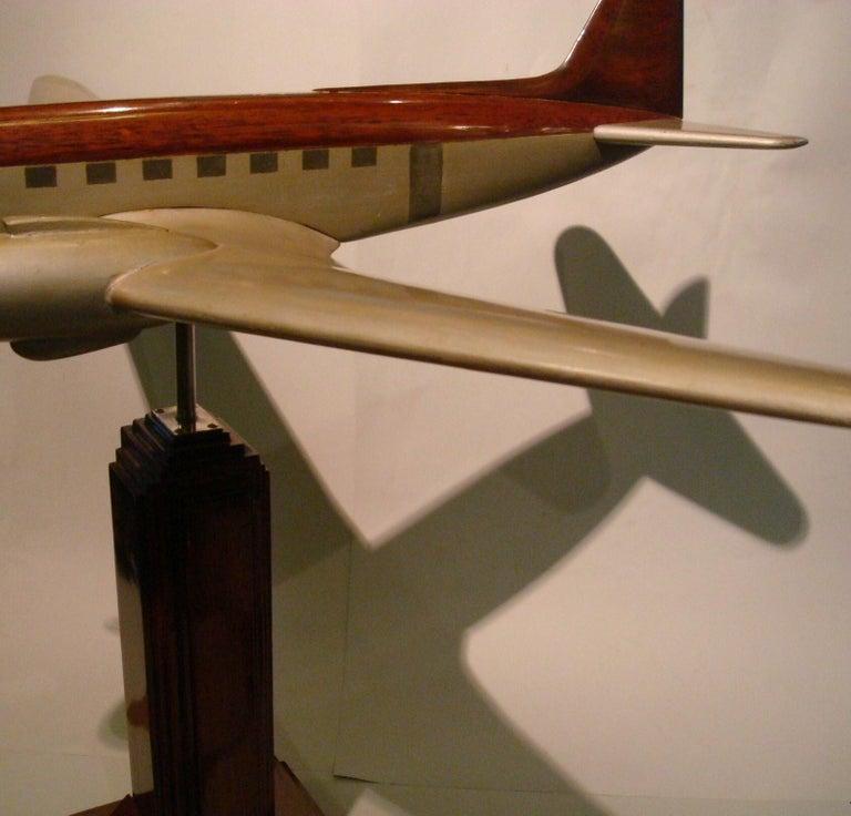 Art Deco Pan-Am DC3 Wooden Airplane Desk Model, Midcentury For Sale 4