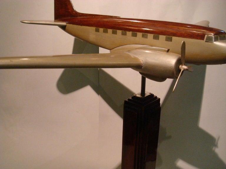 Art Deco Pan-Am DC3 Wooden Airplane Desk Model, Midcentury For Sale 5