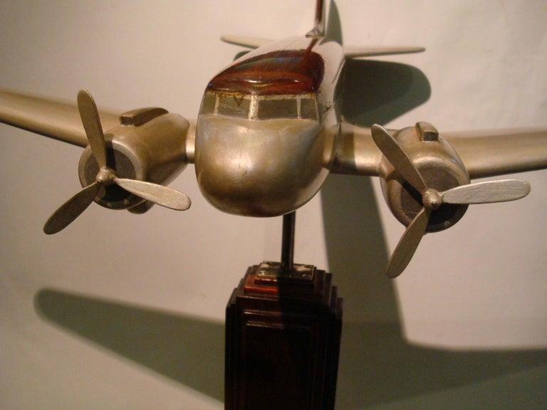 Mid-Century Modern Art Deco Pan-Am DC3 Wooden Airplane Desk Model, Midcentury For Sale