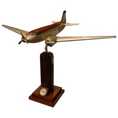 Pan-Am DC3 Wooden Airplane Desk Model, Midcentury, 1940s